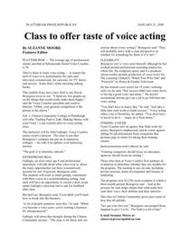 Plattsburgh Press Republican Voice Acting Training Article