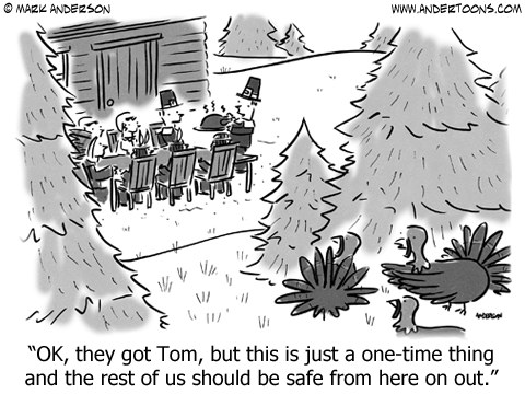 Thanksgiving Pilgrims & Turkey Cartoon